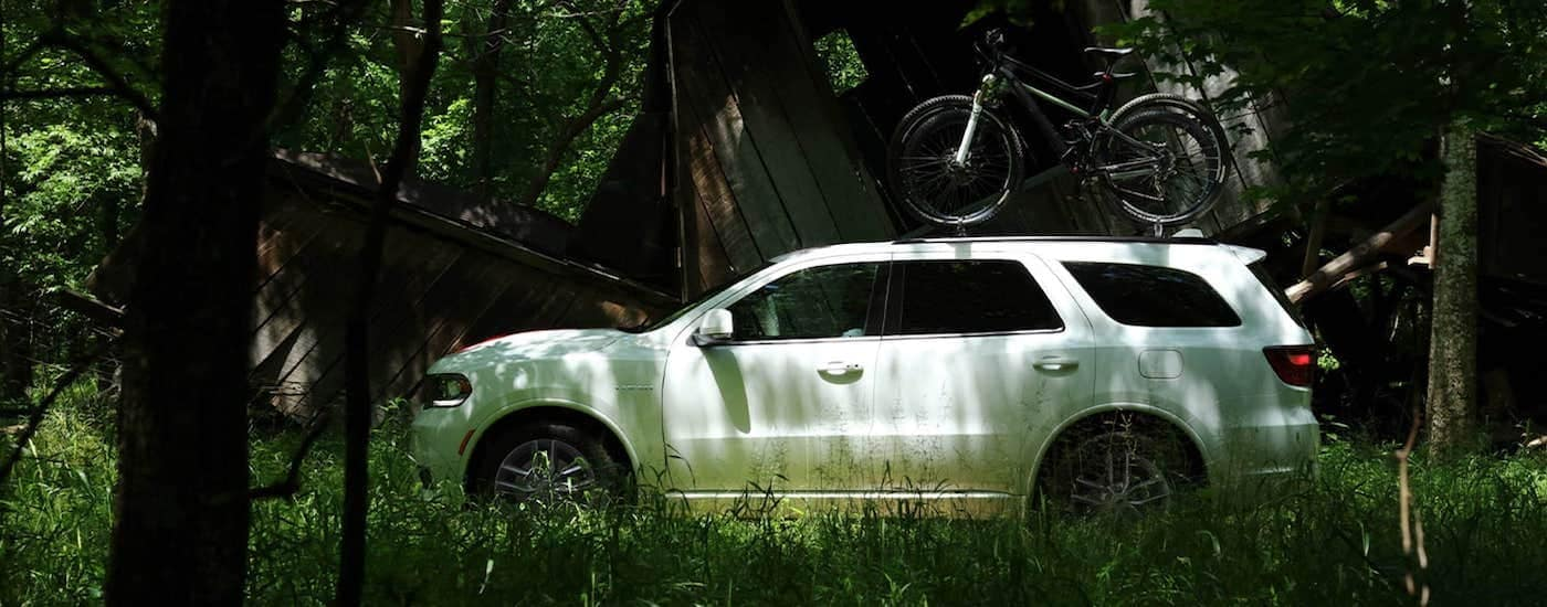 A white 2021 Dodge Durango is shown from the side, parked in the woods, with a bike on the roof.