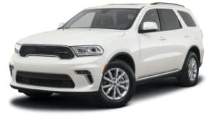 A white 2021 Dodge Durango is angled left.
