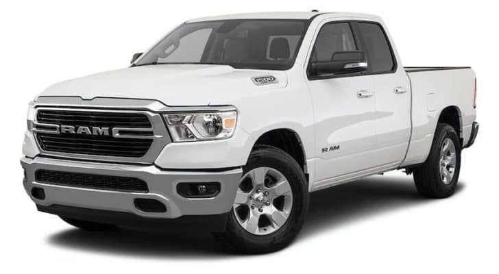 A white 2021 Ram 1500 Big Horn/Lone Star is angled left.
