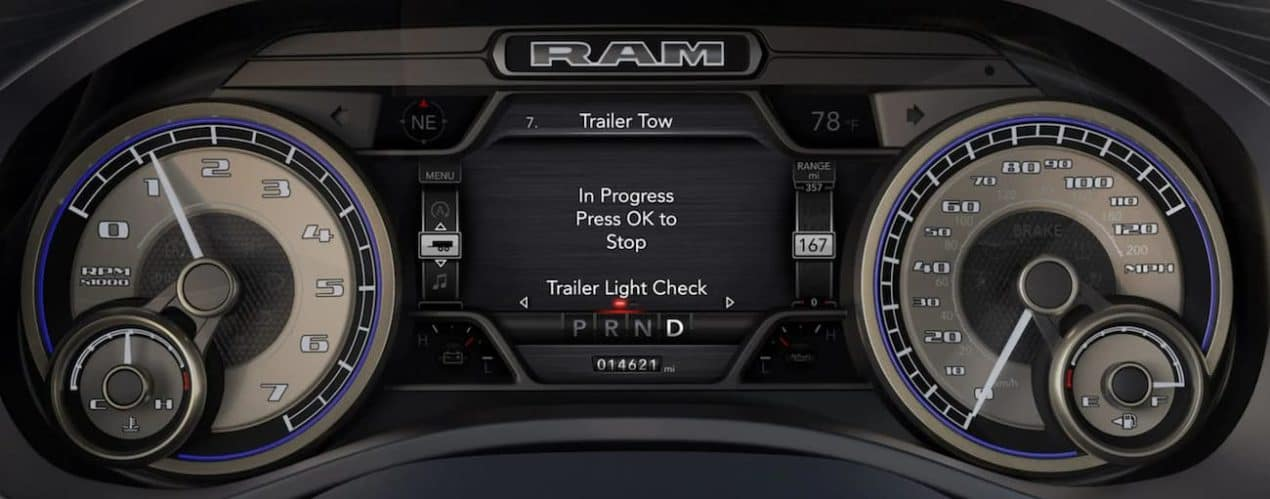 A close up of a 2021 Ram 1500 is shown.