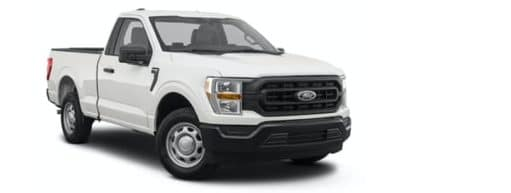 A white 2021 Ford F-150 is angled right.