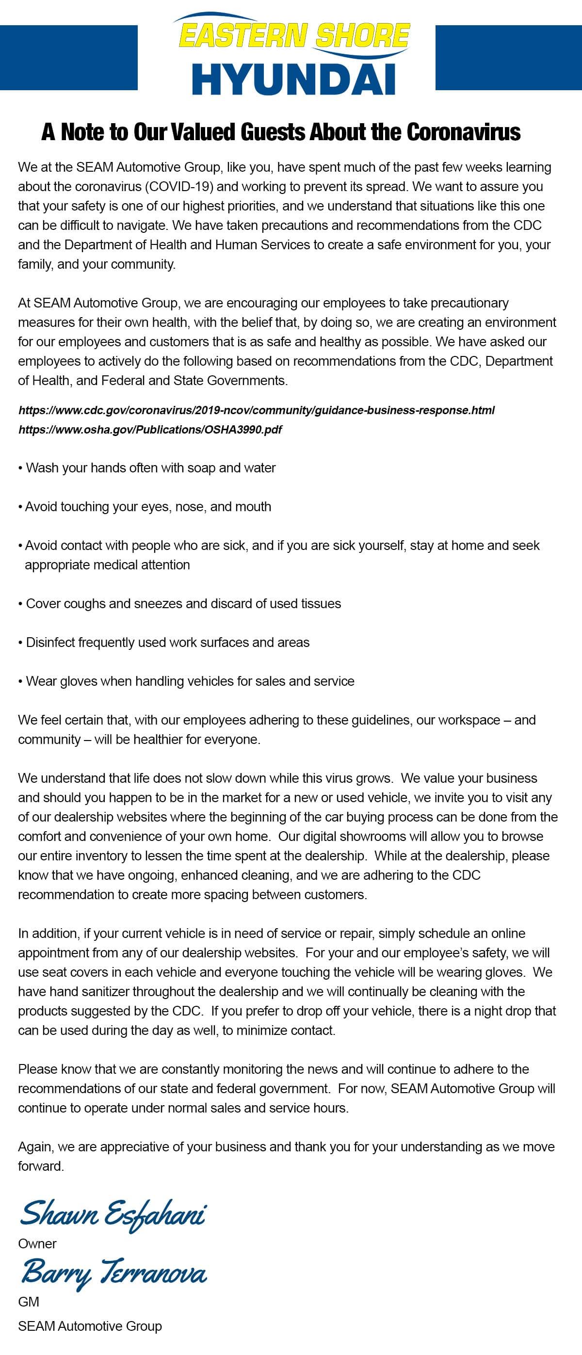 COVID-19 Press Release at Eastern Shore Hyundai