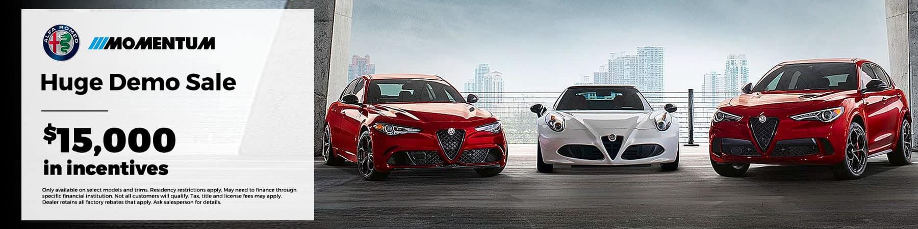 Huge Demo Sale - $15,000 in incentives! Only available on select models & trims; See dealer for complete details.