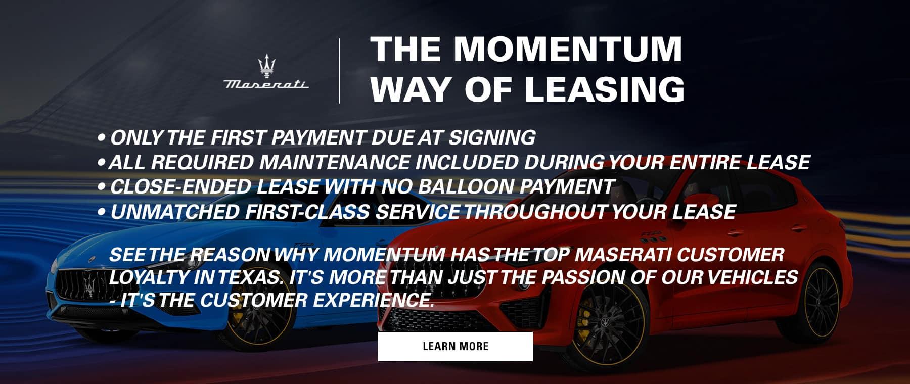 Momentum Maserati Lease 1800x760