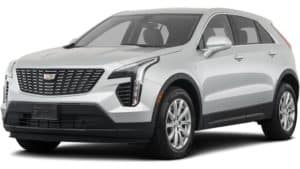 A white 2019 Cadillac XT4 on white facing left