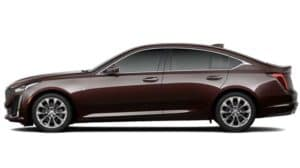 A maroon 2020 Cadillac CT5 profile view