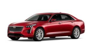 A red 2020 Cadillac CT6 facing left