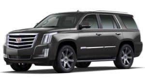 A black 2020 Cadillac Escalade is angled left on a white background.