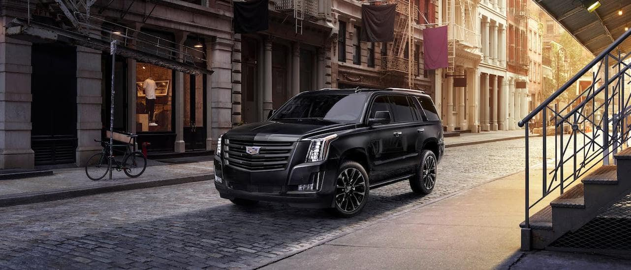 A black 2020 Cadillac Escalade is parked in a cobblestone alleyway at sunset.
