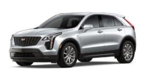 A silver 2020 Cadillac XT4 is angled left on a white background.