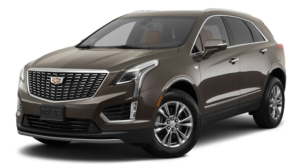 A brown 2020 Cadillac XT5 is angled left on a white background.