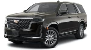 A black 2021 Cadillac Escalade is angled left.