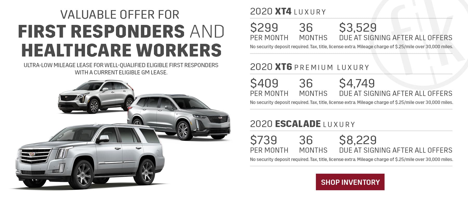 Supplier Pricing for First Responders – XT4, XT6 & Escalade