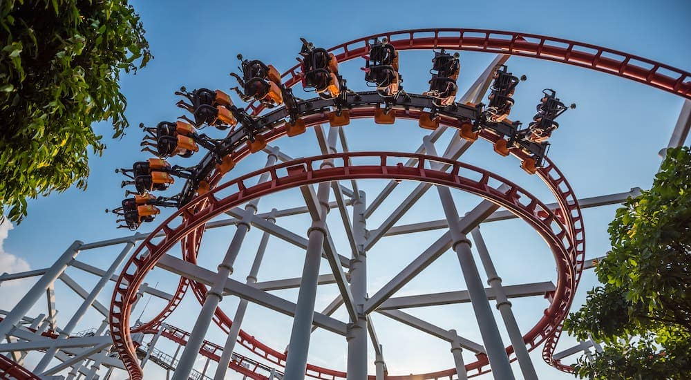 A low angle shows a rollercoaster near Arlington, TX.