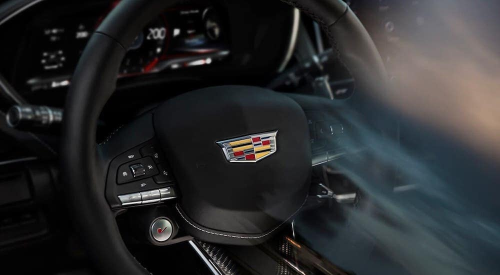 The steering wheel is shown in a Cadillac Blackwing model, soon to be hitting a Cadillac dealership in Fort Worth, TX.