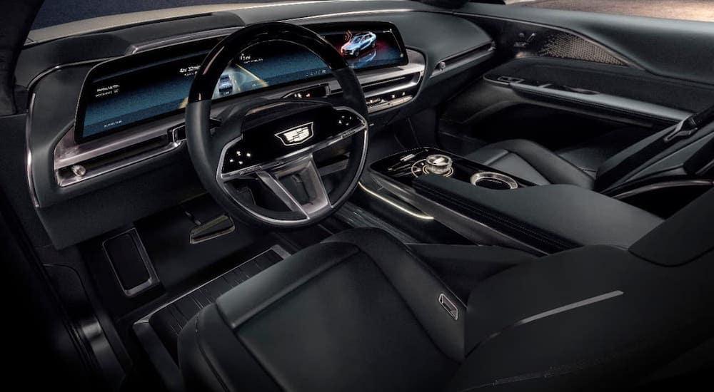 The black interior of a Cadillac Lyriq is shown.