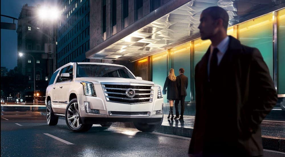 A man is in the foreground in front of a white 2016 Cadillac Escalade that is parked on a city street at night.
