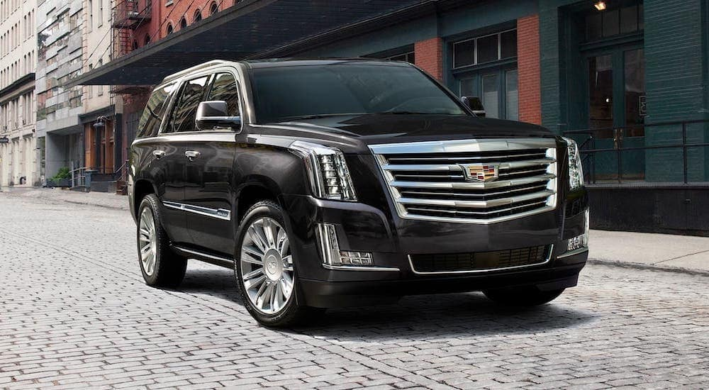 A black 2018 used Cadillac Escalade is driving on a cobblestone road.