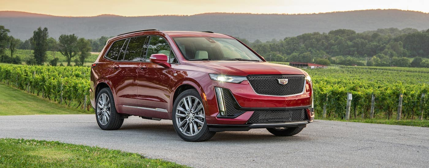 A red 2020 Cadillac XT6 Sport is driving past a vineyard after winning the 2020 Cadillac XT6 vs 2020 Buick Enclave comparison.