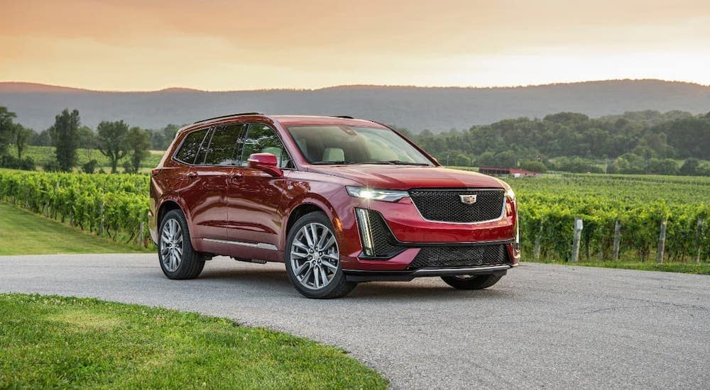 A red 2020 Cadillac XT6 from a Cadillac dealership near you is driving on a dirt road in front of a vineyard.
