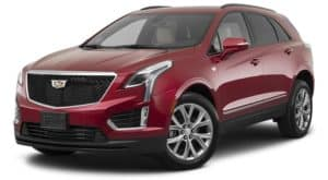 A red 2021 Cadillac XT5 is angled left.