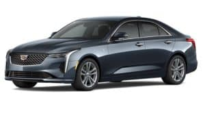 A gray 2021 Cadillac CT4 is angled left.