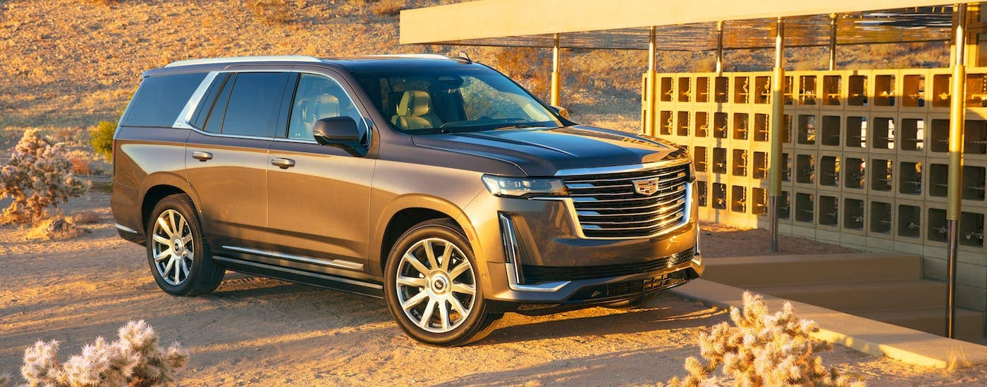 A brown 2021 Cadillac Escalade is parked in front of a building in a desert.