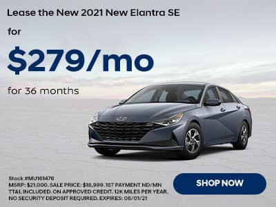 Lease a New 2021 Hyundai Elantra SE, For $279 a month for 36 months