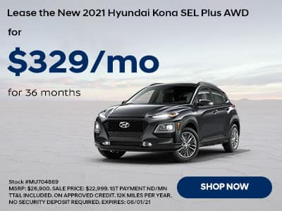 Lease a New 2021 Hyundai Kona SEL Plus AWD , For $329 a month for 36 months