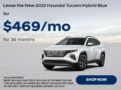 Lease a New 2021 Hyundai Tucson Hybrid Blue, For $469 a month for 36 months