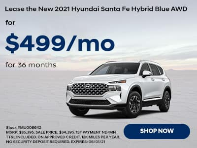 Lease a New 2021 Hyundai Santa Fe Hybrid Blue AWD, For $499 a month for 36 months