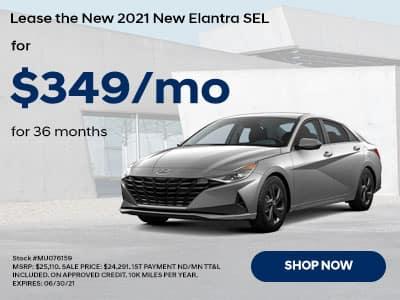 2021 Hyundai Elantra for $349 a month