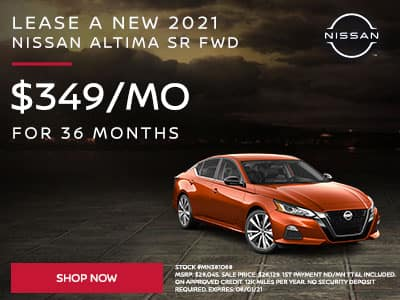 Lease a New 2021 Nissan Altima SR FWD SUBTEXT For $349 a month for 36 months