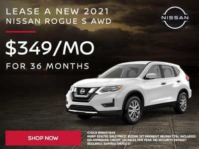 Lease a New 2021 Nissan Rogue S AWD SUBTEXT For $349 a month for 36 months