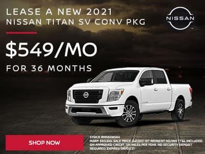 Lease a New 2021 Nissan Titan SV Conv Pkg SUBTEXT For $549 a month for 36 months