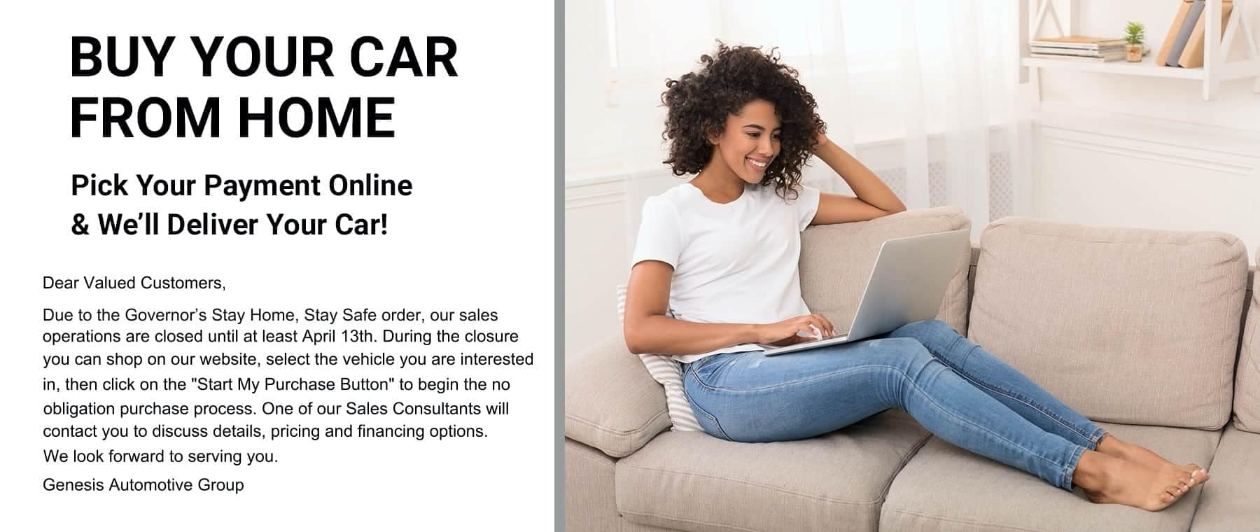 Buy Your Car From Home - Pick Your Payment Online & We'll Deliver Your Car!