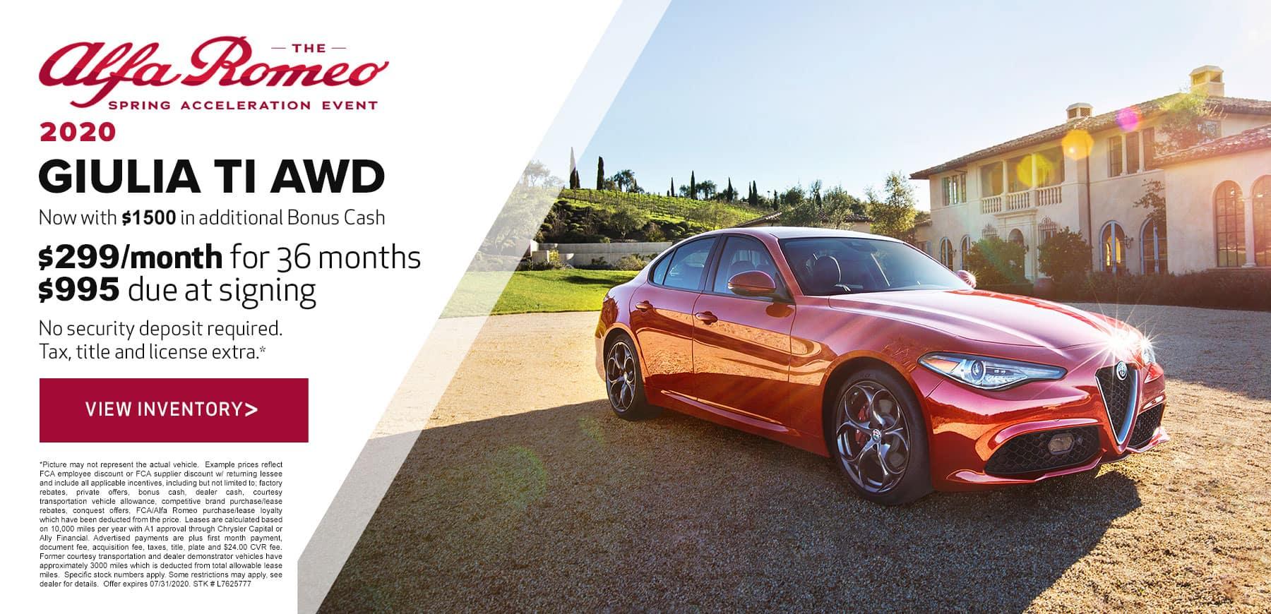 Genesis Alfa Romeo July 2020 Giulia Lease Offer