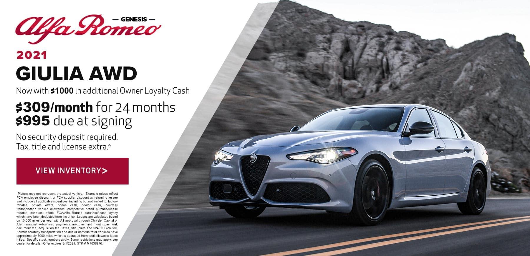 Genesis Alfa Romeo February 2021 Giulia Lease