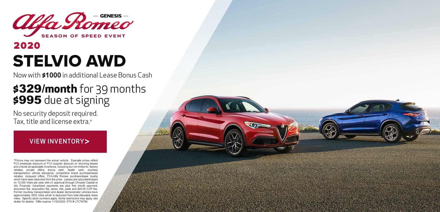 Genesis Alfa Romeo November Stelvio Lease