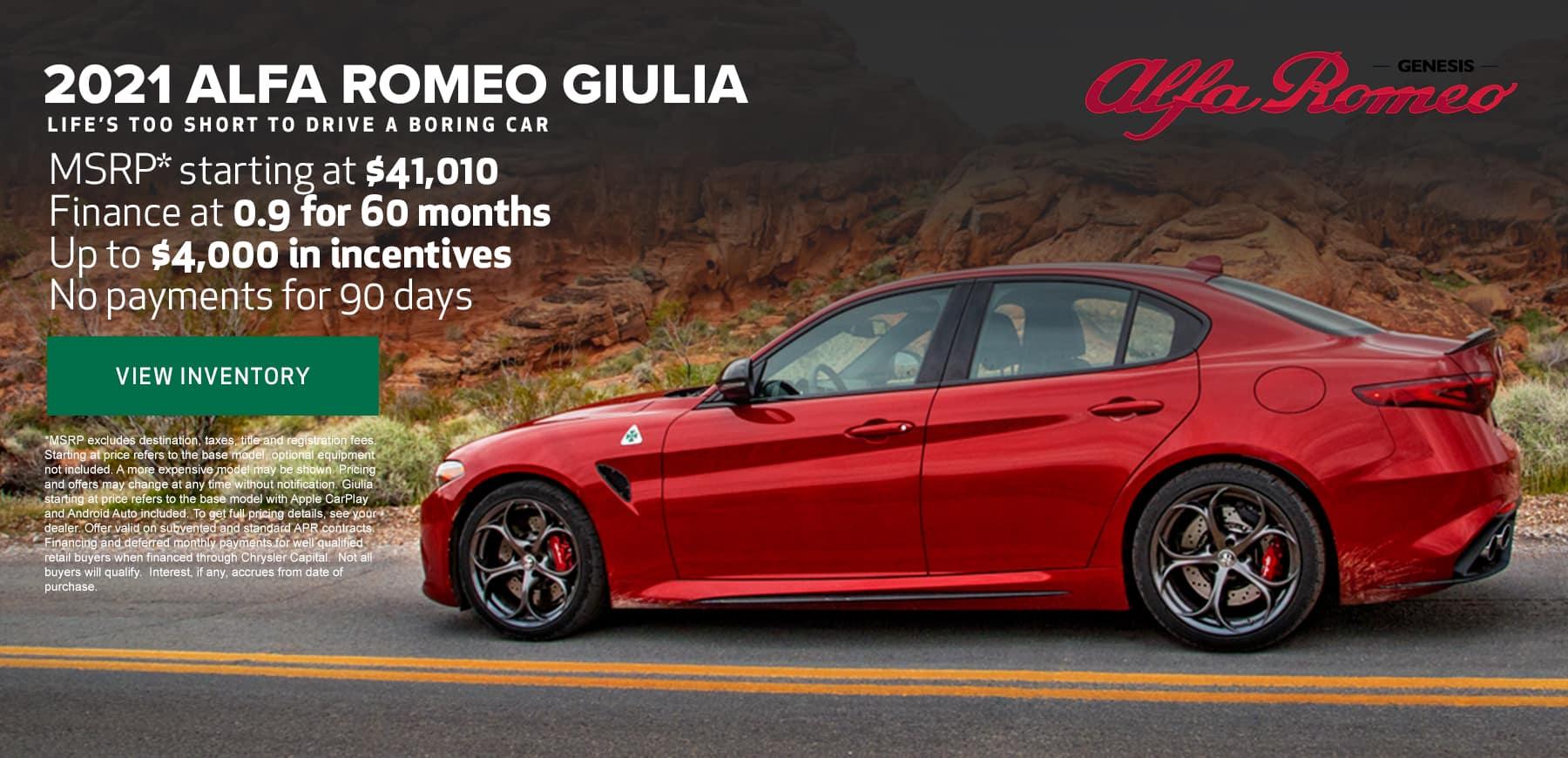 Genesis Alfa Romeo Giulia Deals