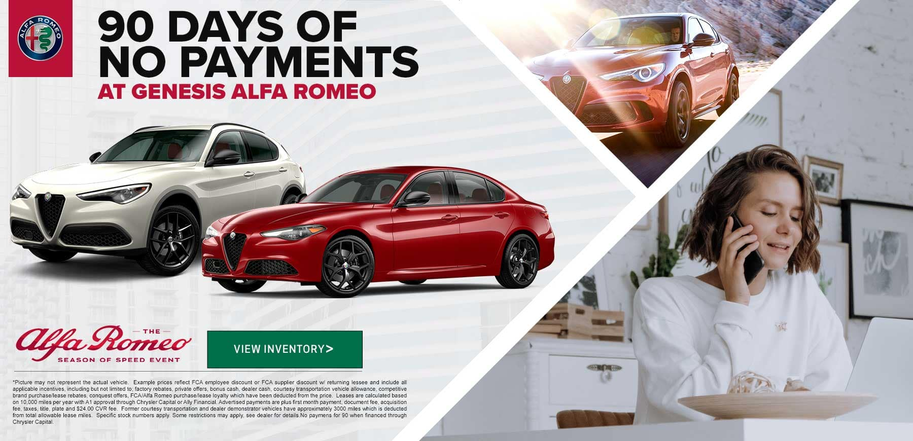 No Payments for 90 Days at Genesis Alfa Romeo FIAT