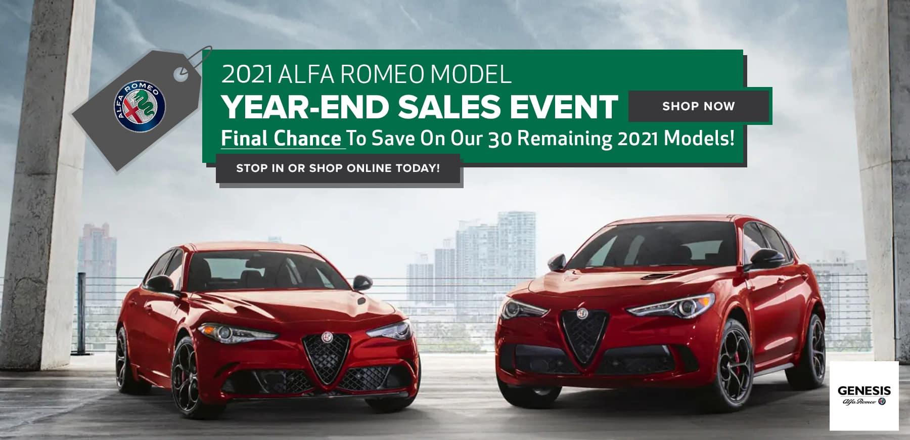 Alt Text: 2021 Genesis Alfa Romeo Clearance Event
