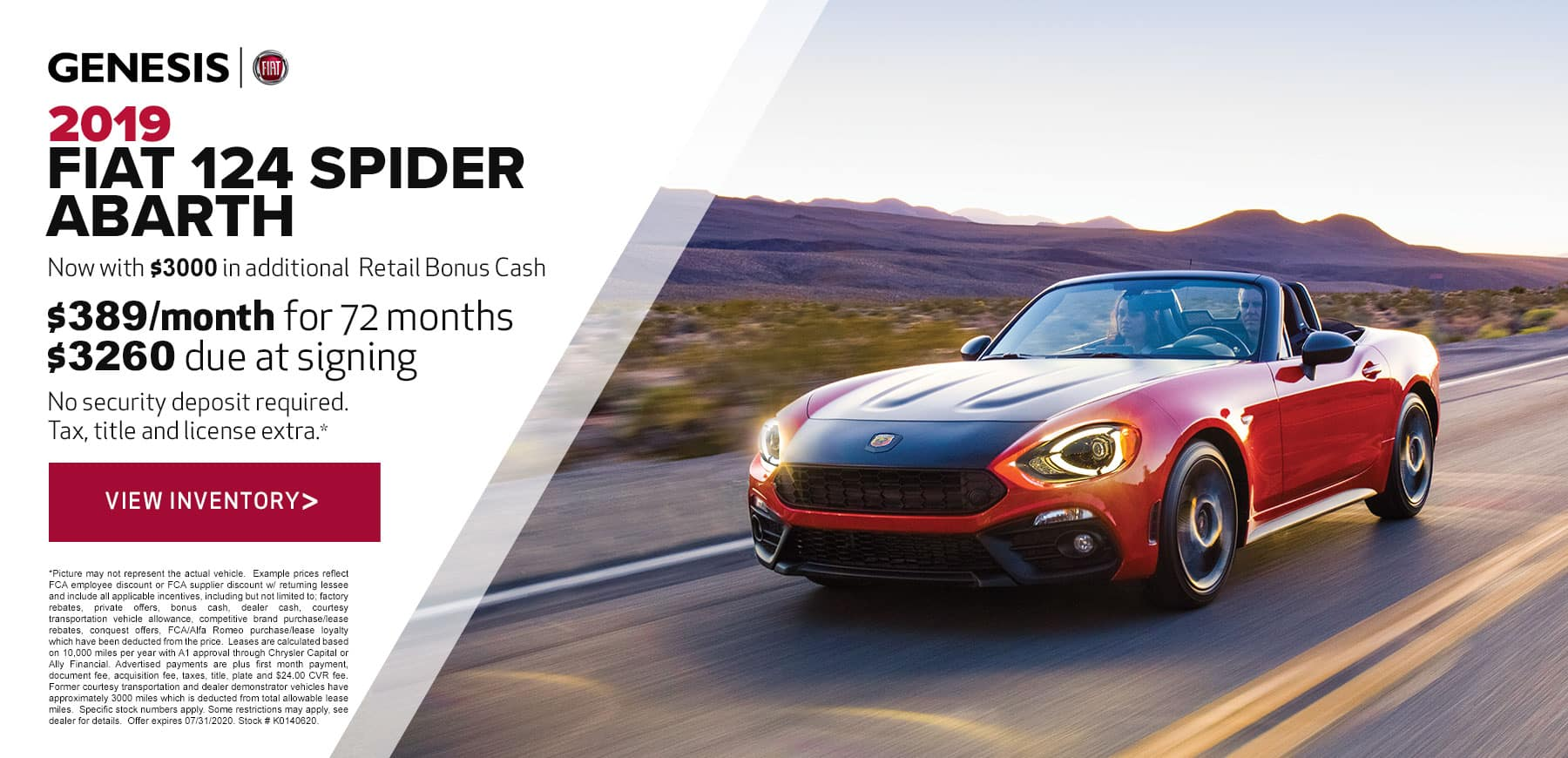 Genesis FIAT July 2020 124 Spider Retail Offer