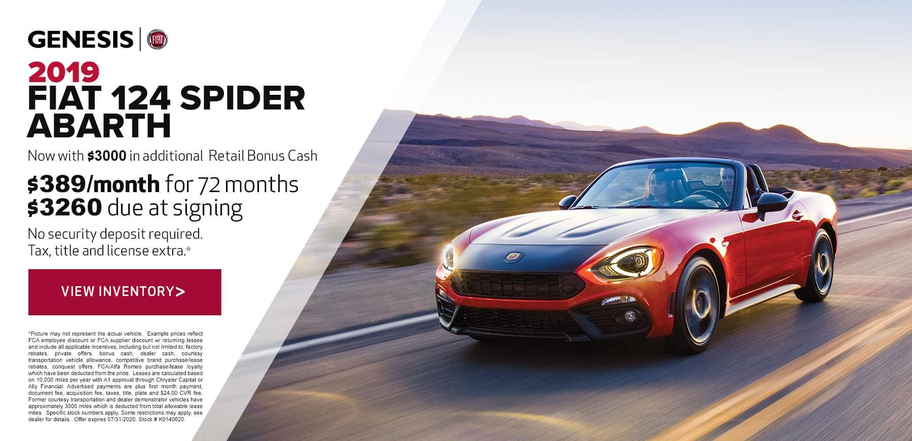 Genesis FIAT July 2020 124 Spider Retail Offer