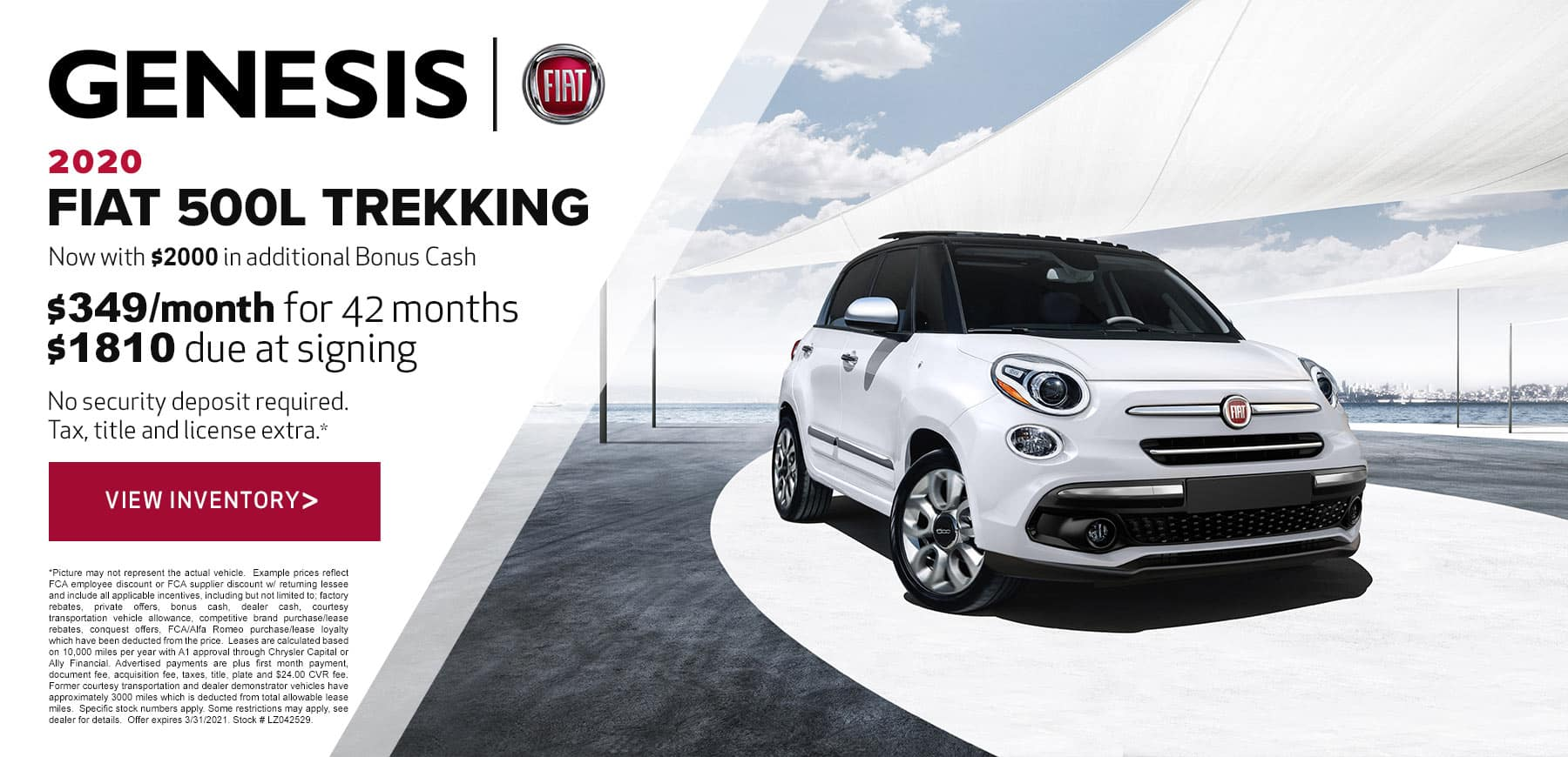 Genesis FIAT March 2021 500L Trekking Lease Offer