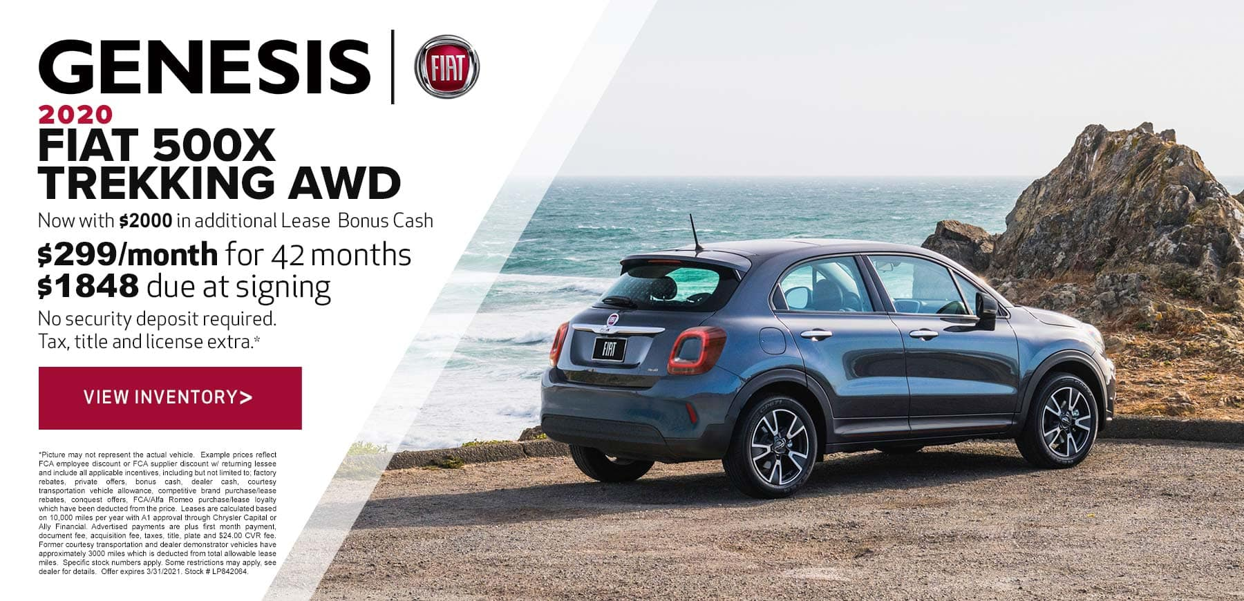Genesis FIAT March 2021 500X Trekking Lease Offer