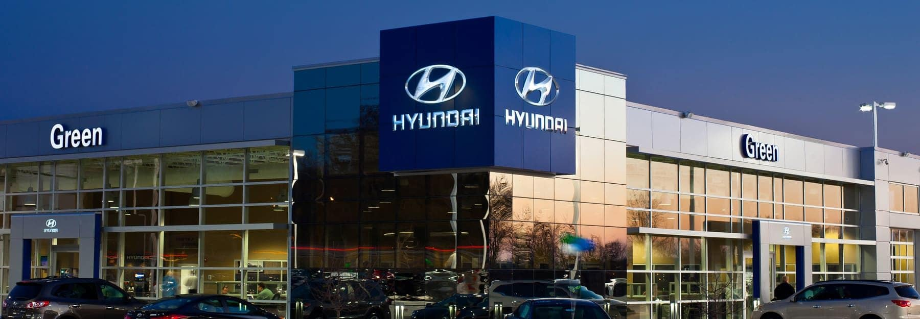 The exterior of the Green Family Hyundai dealership