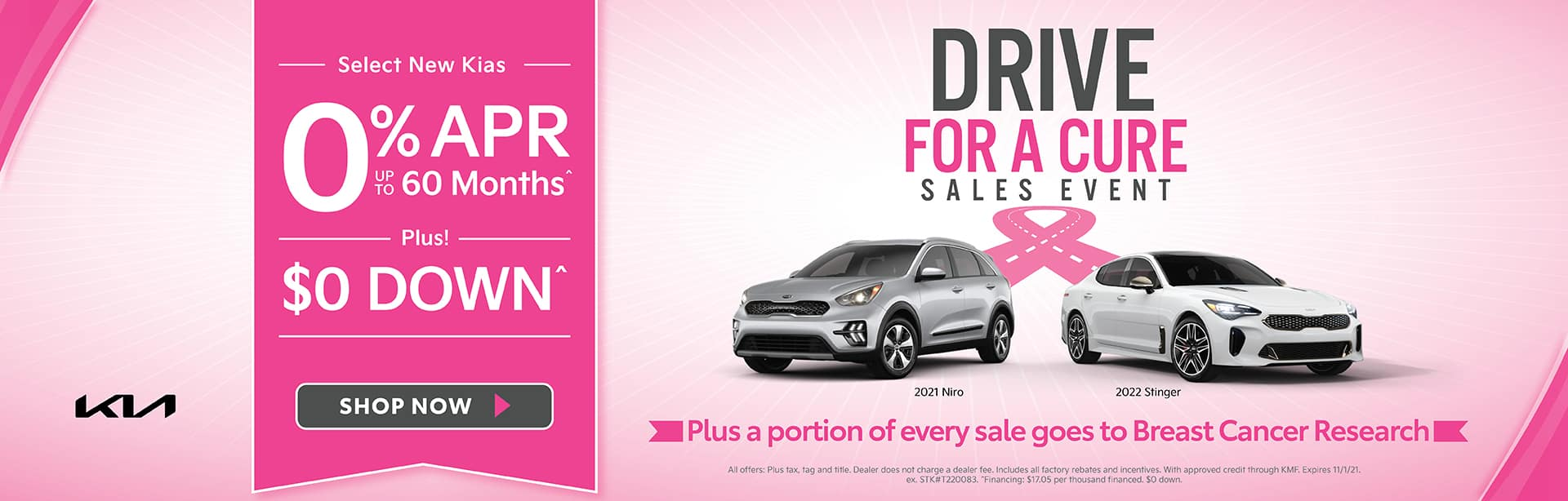Select New Kias 0% APR for up to 60 Months