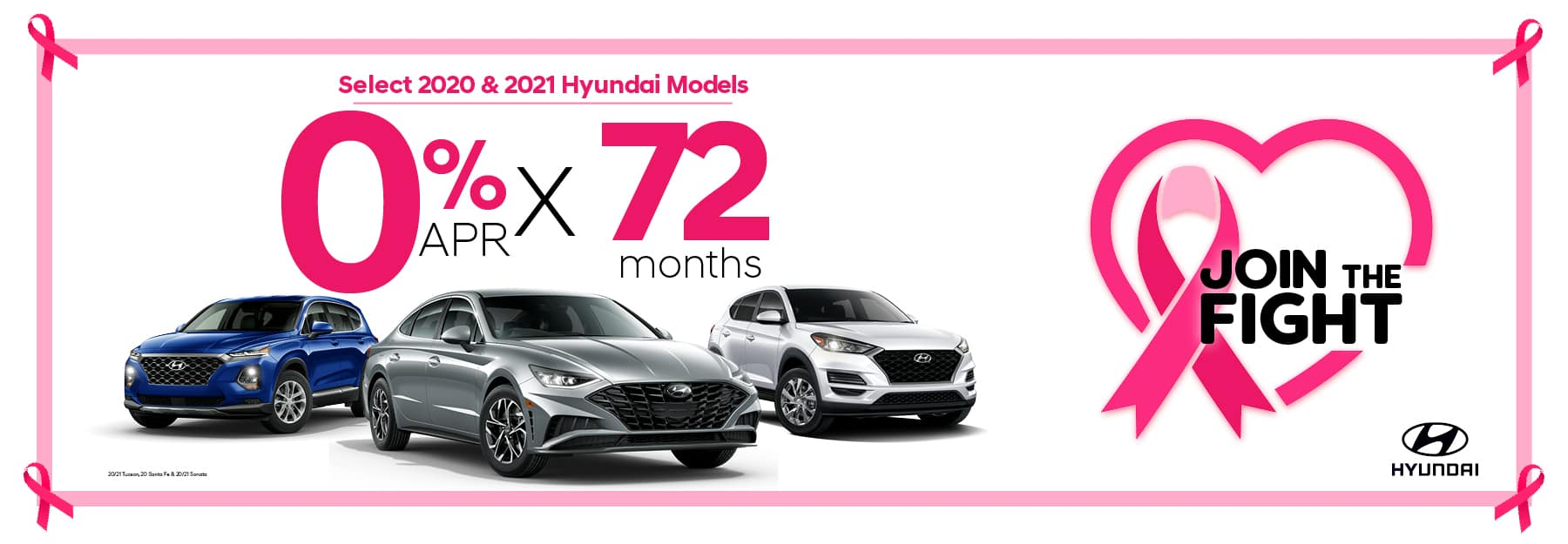 0% APR for 72 months on select 2020 & 2021 Hyundai Models