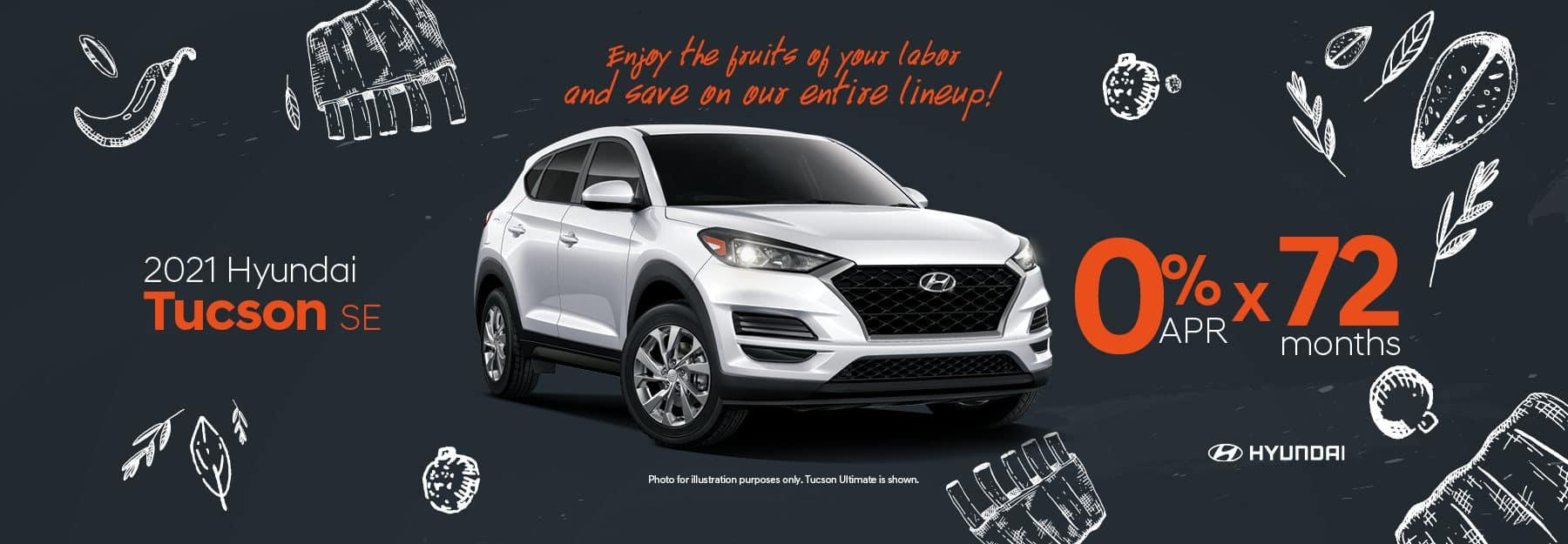 0% APR for 72 months on 2021 Hyundai Tucson SE